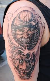 cool samurai warrior and japanese symbols tattoo on back