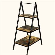 a frame iron ladder open display shelves reclaimed wood furniture