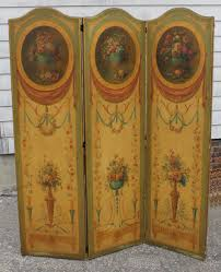 Tri Fold Room Divider Screens Antique O C Floral Painting Folding