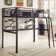 twin metal loft bed with desk and shelving coaster twin metal loft bed over desk workstation black walmart com