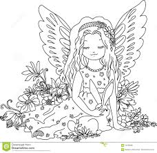 cute angel bunny coloring book illustration stock vector