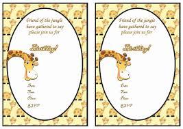 Invitation Birthday Party Card Giraffe Free Printable Birthday Party Invitations Birthday Party