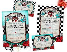 wedding invitations quincy il rockabilly wedding invitation set with sparrow lovebirds