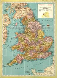 Map Of England And Wales Vintage Maps England And Wales Mid Century Map Uk United