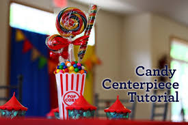 theme centerpiece circus party candy centerpiece tutorial