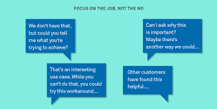 what to say to to be how do you say no to customers inside intercom