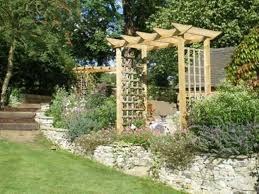 Concrete Pergola Designs by Tall Lattice Small Pergola With Concrete Bench Small Pergola
