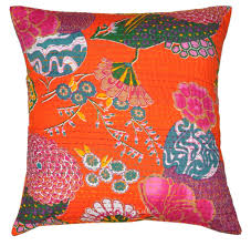 Cushion Covers For Sofa Pillows by Orange Floral Kantha Cushion Covers Extra Large Indian Decorative