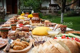 table full of food table full of homemade moldavian food in the open air stock photo