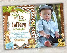 printable jungle birthday invitation photo invite boys first