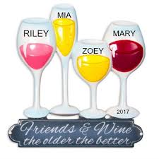 wine glass christmas ornaments personalized christmas ornaments friends and wine the the better