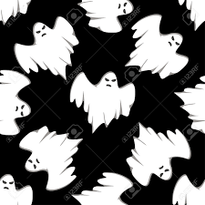white and black halloween background seamless pattern of cartoon spooky ghost isolated on black