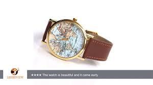 World Map Watch Ancient Old World Map Original Design Unisex Brown Leather Wrist