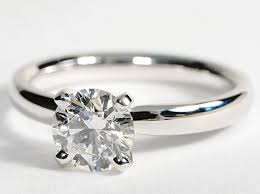 plain band engagement ring classic solitaire comfort fit 14k white gold engagement ring