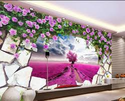 dream lavender yellow flower purple pink tv background wall mural see larger image