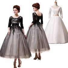 a line tea length black prom dresses 3 4 sleeves empire waist crew