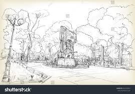 sketch cityscape hanoi public space vuon stock vector 501675847