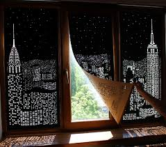 Light Blocking Blinds Buildings And Stars Cut Into Blackout Curtains Turn Your Windows