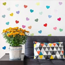 multicoloured heart wall sticker set by oakdene designs multicoloured heart wall sticker set