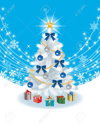White Christmas Tree With Blue Decorations White Christmas Tree On Sky Blue Color Back Ground Royalty Free