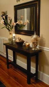 Entryway Table Decor Foyer Table Ideas With Laminate Flooring And Mirror And Wooden
