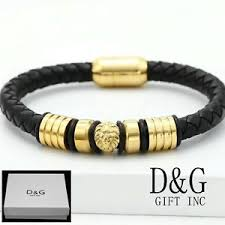 black bracelet box images Dg men 39 s s steel gold 8 5 quot black braided leather magnetic lion jpg