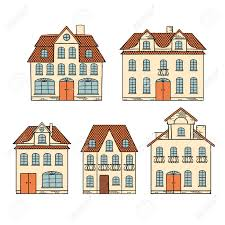 old hand drawing houses isolated royalty free cliparts vectors