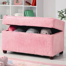 Kids Storage Bench Storage Ottoman Toy Chest With Pink Fuzzy Upholstery And Brown