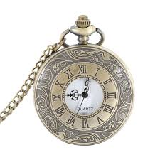 quartz necklace watch images Pocket fob watch roman numerals clock vintage quartz watches jpg
