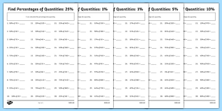 find percentages of quantities differentiated activity sheet