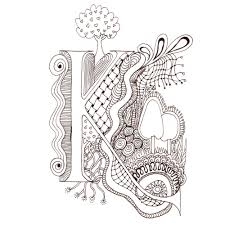printable illuminated letters monogram initial colour me in