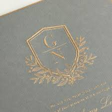Gray And Gold Vera Wang Engraved Gold Bordered Light Grey Invitation With