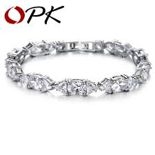 white gold crystal bracelet images Opk jewelry luxury white gold color wedding bracelets bangle jpg