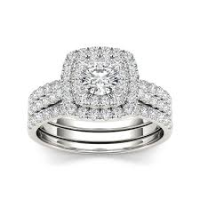 set ring de couer 10k white gold 1 1 2 ct tdw diamond halo engagement ring