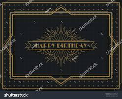 vintage art deco happy birthday card stock vector 353593967