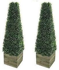 artificial trees 3ft pyramid cones in wooden box stand
