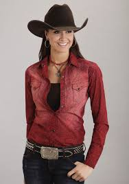 Plus Size Cowgirl Clothes Stetson Womens Deep Red Cotton Paisley Print Snap Ls Cowgirl Shirt