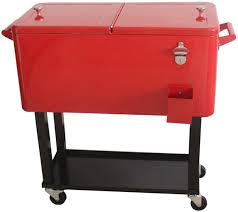 Patio Cooler Table Hio 80 Qt Outdoor Patio Cooler Table On Wheels