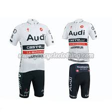 2015 team audi pro apparel cycle jersey and shorts white