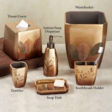 bathroom beautiful gold bathroom accessories set with leaves
