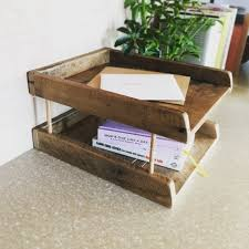 Paper Desk Organizer Paper Tray Tower Reclaimed Wood Desk Organizer Wooden