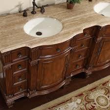 amazon com silkroad exclusive travertine stone top double sink