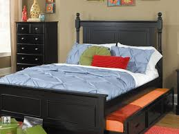 Double Bed Furniture For Kids Size Bed Furniture Black Stained Wooden Double Trundle Bed With