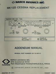 narco mk 12d cessna 328 replacement service u0026 parts addendum