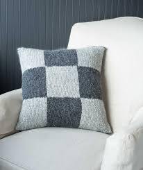 Knitted Cushion Cover Patterns Garter Block Nine Patch Pillow Cover Lang Yara Version