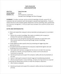 Sales Supervisor Job Description Resume by Retail Associate Job Description Sales Associate Job Description