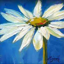 white daisy original oil painting by kim myers smith
