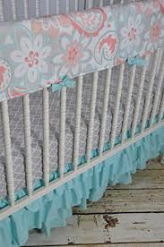 Coral And Mint Bedding Lavender Linens Three Piece Bumperless Crib Bedding In Coral Gray