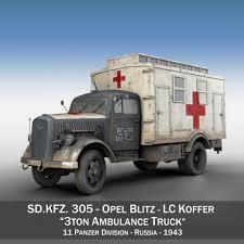 german opel blitz truck opel blitz 3t ambulance truck 11 pzdiv 3d model cgstudio