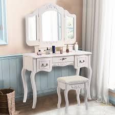costway tri folding vintage white vanity makeup dressing table set